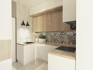 Mieszkanie Jaworzno - Mała otwarta biała szara kolorowa kuchnia w kształcie litery u z wyspą, styl skandynawski - zdjęcie od ZIN studio