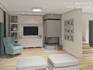 Skandi - Duży szary salon, styl skandynawski - zdjęcie od Anava Studio