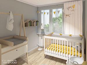 Maluch - Mały szary pokój dziecka dla chłopca dla dziewczynki dla niemowlaka, styl skandynawski - zdjęcie od Anava Studio