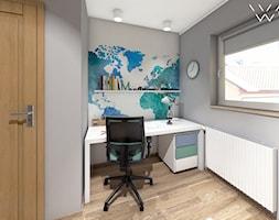 Pokój naukowca/podróżnika - Mały szary pokój dziecka dla chłopca dla ucznia dla nastolatka, styl nowoczesny - zdjęcie od Anava Studio