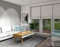 PasteLOVE - Mały szary biały salon - zdjęcie od Anava Studio