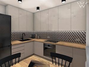 Diamond - Średnia zamknięta biała szara czarna kuchnia w kształcie litery l w aneksie z oknem, styl nowoczesny - zdjęcie od Anava Studio