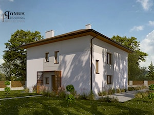 """Projekt elewacji domu jednorodzinnego typu """"kostka"""" w Jaworznie - zdjęcie od Pracownia Projektowa DOMUS Łukasz Czyż"""
