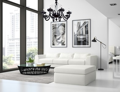 Nowoczesny design salonu oświetla żyrandol Venice Mist by Mollini - zdjęcie od MOLLINI