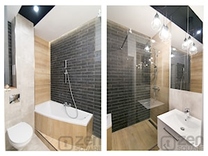 CZARNY MAT - Średnia biała czarna łazienka na poddaszu w bloku w domu jednorodzinnym bez okna, styl nowoczesny - zdjęcie od studio wnętrz URBAN-DESIGN