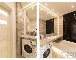 BLACK & WHITE - Mała biała łazienka w bloku w domu jednorodzinnym bez okna - zdjęcie od studio wnętrz URBAN-DESIGN