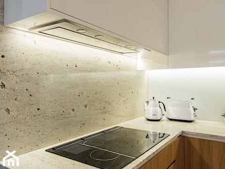 Aranżacje wnętrz - Kuchnia: Elegancki dom w barwach ziemi - Mała biała szara kuchnia w kształcie litery l, styl nowoczesny - studio wnętrz URBAN-DESIGN. Przeglądaj, dodawaj i zapisuj najlepsze zdjęcia, pomysły i inspiracje designerskie. W bazie mamy już prawie milion fotografii!
