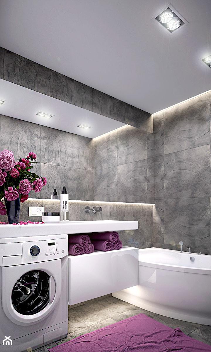 Pierwsze mieszkanie Kasi - Mała szara łazienka na poddaszu w bloku w domu jednorodzinnym bez okna, styl nowoczesny - zdjęcie od Studio projektowania wnętrz''Studio Aranżacji''