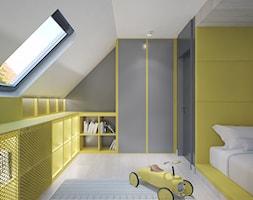 W żółtym kraju Kajtka - Mały szary żółty pokój dziecka dla chłopca dla dziewczynki dla malucha dla nastolatka, styl nowoczesny - zdjęcie od Studio projektowania wnętrz''Studio Aranżacji''