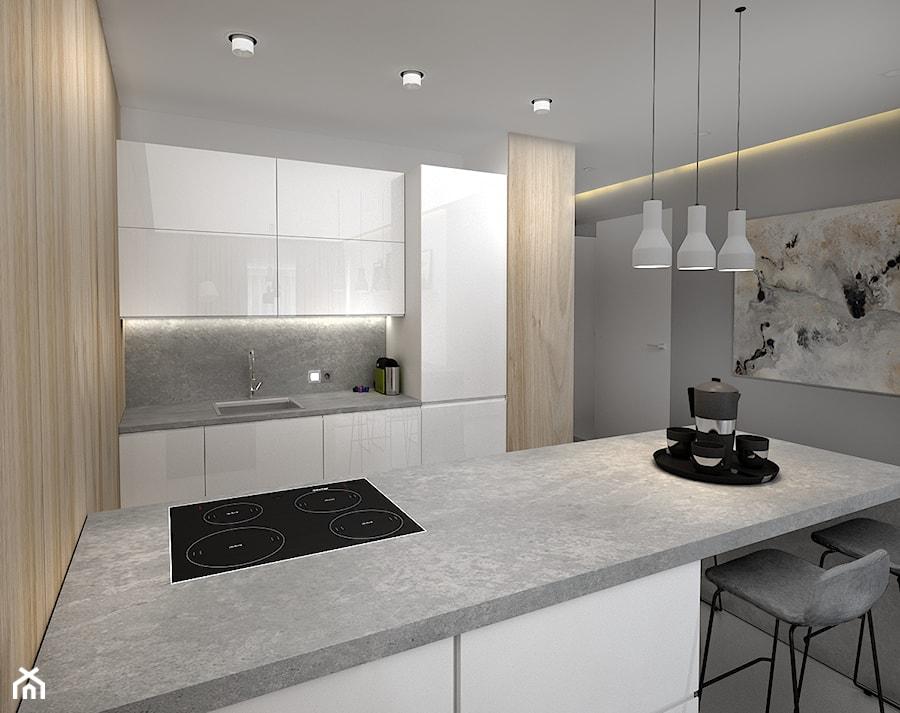 Nowoczesna aranżacja m2 - Średnia otwarta kuchnia jednorzędowa dwurzędowa z wyspą, styl skandynawski - zdjęcie od Studio projektowania wnętrz''Studio Aranżacji''