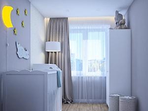 Pierwsze mieszkanie Kasi - Mały szary pokój dziecka dla chłopca dla dziewczynki dla niemowlaka, styl nowoczesny - zdjęcie od Studio projektowania wnętrz''Studio Aranżacji''