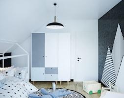 Dom na skale Głuchołazy - Mały biały czarny pokój dziecka dla chłopca dla malucha, styl nowoczesny - zdjęcie od Studio projektowania wnętrz''Studio Aranżacji''