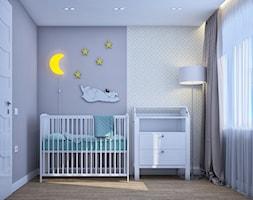 Pierwsze mieszkanie Kasi - Mały biały szary pokój dziecka dla chłopca dla dziewczynki dla niemowlaka, styl tradycyjny - zdjęcie od Studio projektowania wnętrz''Studio Aranżacji''