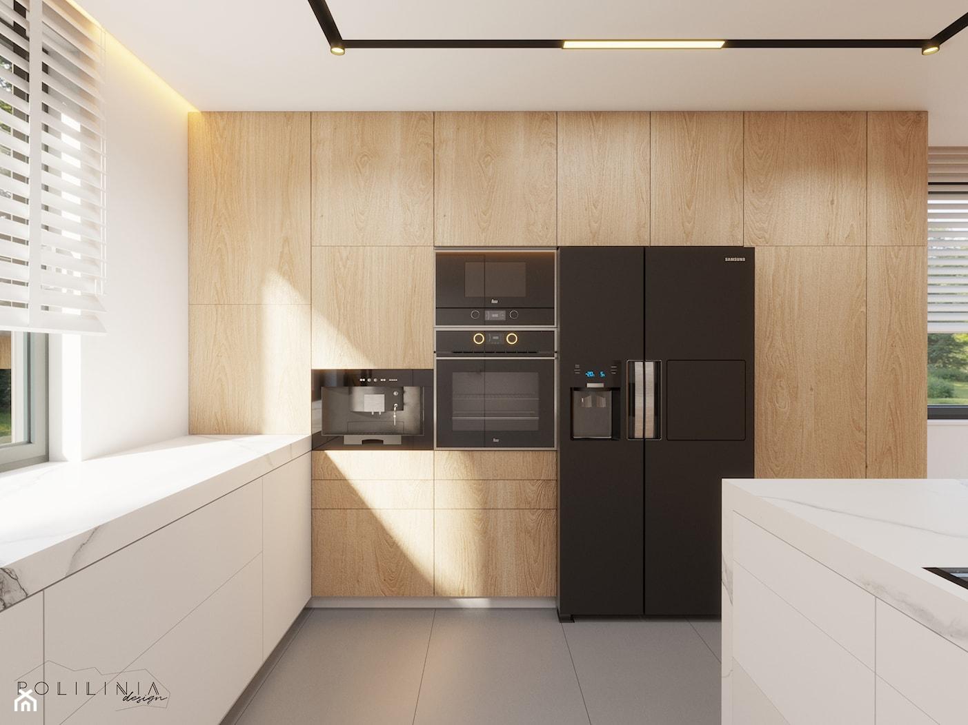 Część dzienna - dom Ruda Śląśka #5 - Duża otwarta biała kuchnia w kształcie litery l z wyspą z oknem, styl nowoczesny - zdjęcie od Polilinia Design - Homebook