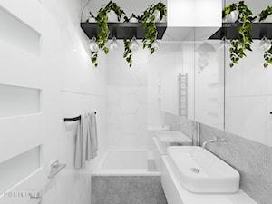 Jasna łazienka z dekoracyjną zielenią - Mała łazienka w bloku w domu jednorodzinnym bez okna - zdjęcie od Polilinia Design