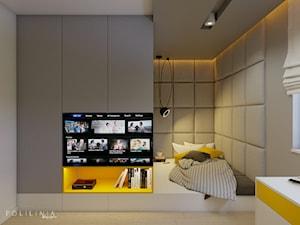 Pokój nastolatka - dom Moskorzew - Średni szary pokój dziecka dla chłopca dla dziewczynki dla nastolatka, styl nowoczesny - zdjęcie od Polilinia Design
