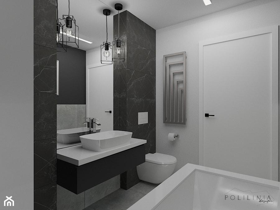 Czarno Biała łazienka Z Płytkami W Marmurowy Wzór Mała