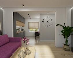 Część dzienna - fuksja i heksagony - Mały szary czarny salon z kuchnią z jadalnią, styl nowoczesny - zdjęcie od Polilinia Design