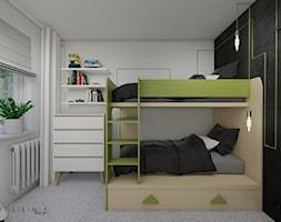 Pokój dziecięcy z oliwkowymi akcentami - Mały szary czarny pokój dziecka dla chłopca dla dziewczynki dla rodzeństwa dla nastolatka - zdjęcie od Polilinia Design