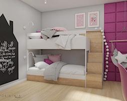 Pokój dziecięcy fuksja - Średni szary różowy czarny pokój dziecka dla dziewczynki dla rodzeństwa dla nastolatka, styl nowoczesny - zdjęcie od Polilinia Design