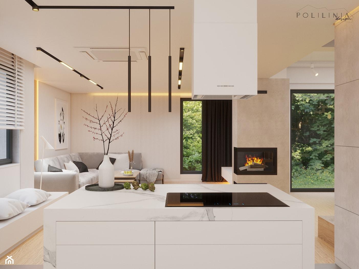 Część dzienna - dom Ruda Śląśka #5 - Średnia otwarta biała beżowa kuchnia jednorzędowa w aneksie z wyspą z oknem, styl nowoczesny - zdjęcie od Polilinia Design - Homebook