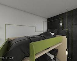 Pokój dziecięcy z oliwkowymi akcentami - Mały szary czarny pokój dziecka dla chłopca dla dziewczynki dla rodzeństwa dla malucha dla nastolatka - zdjęcie od Polilinia Design