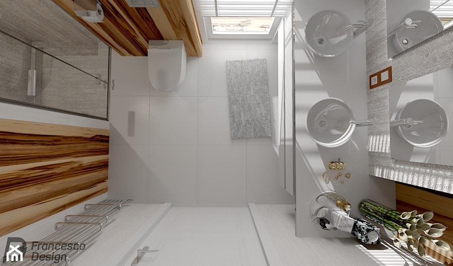 Mała łazienka W Bieli I Oryginalnym Drewnie Zdjęcie Od