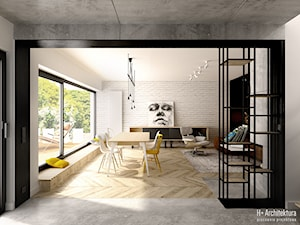 Krajewskiego | Lublin - Duża otwarta biała czarna jadalnia w salonie, styl industrialny - zdjęcie od H+ Architektura