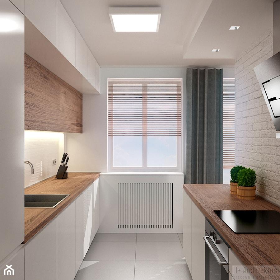 Poturzyńska | Lublin - Średnia otwarta wąska biała kuchnia dwurzędowa, styl nowoczesny - zdjęcie od H+ Architektura