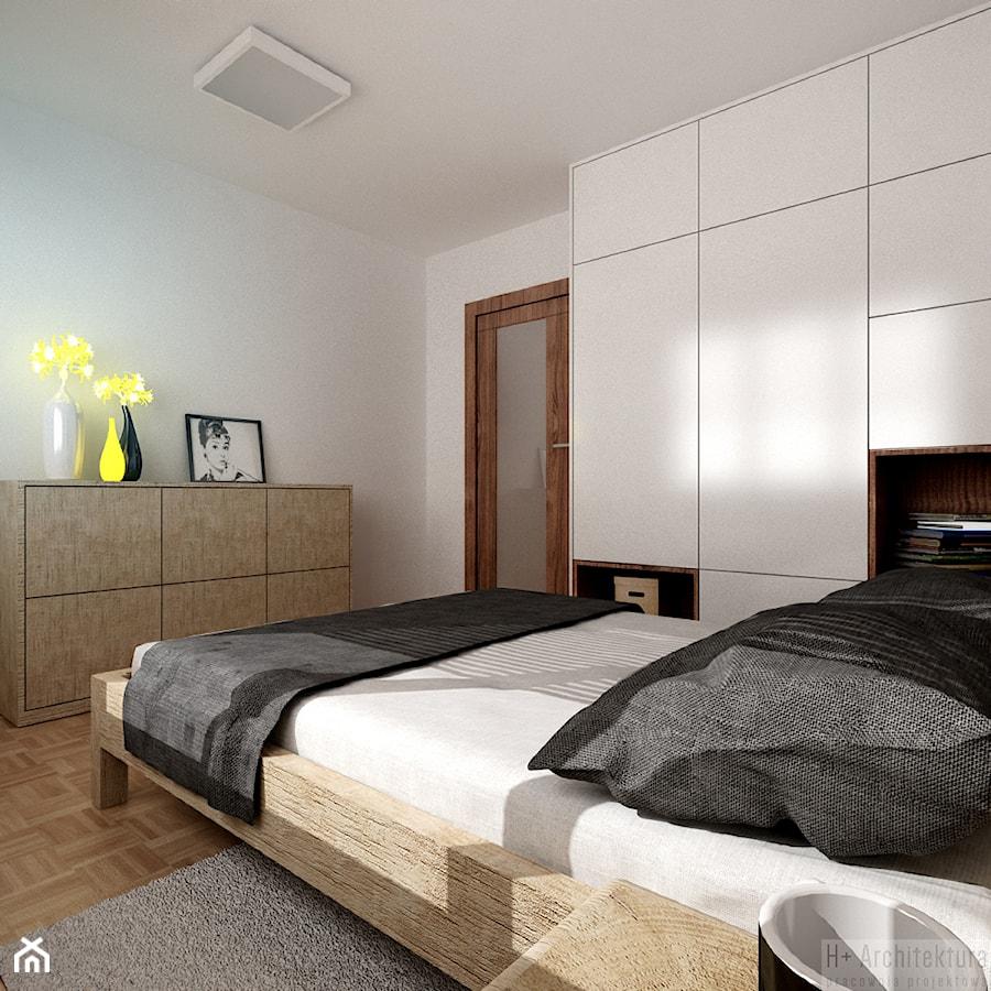 Poturzyńska | Lublin - Średnia biała sypialnia małżeńska, styl nowoczesny - zdjęcie od H+ Architektura