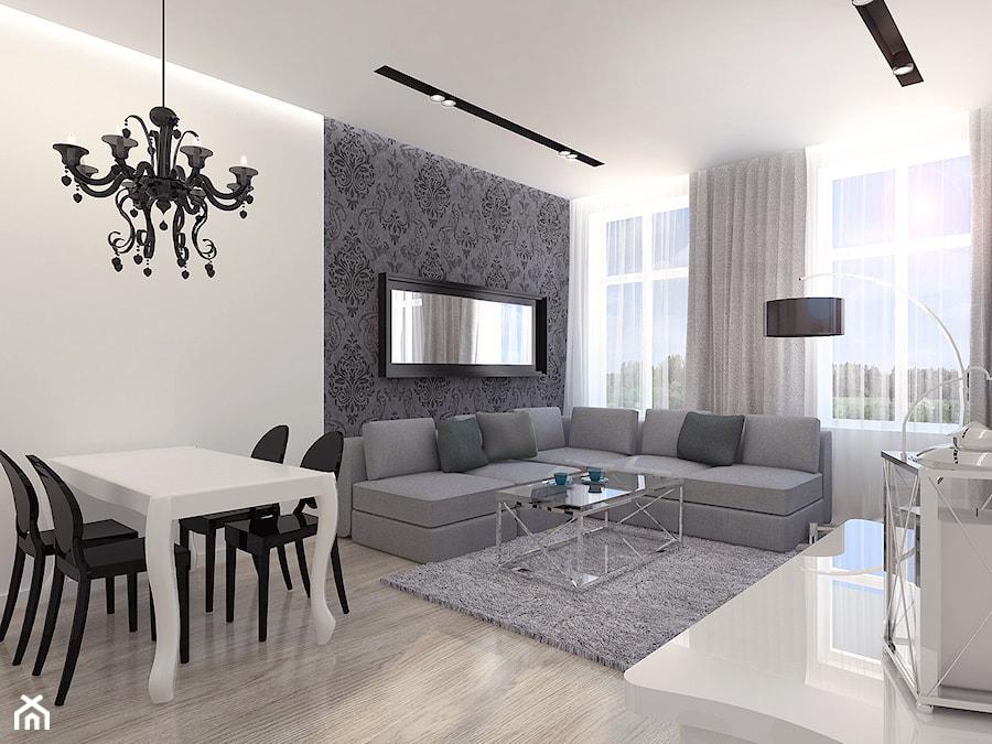 Salon Glamour - Duży szary biały salon, styl glamour - zdjęcie od KIECZ.studio projektowe