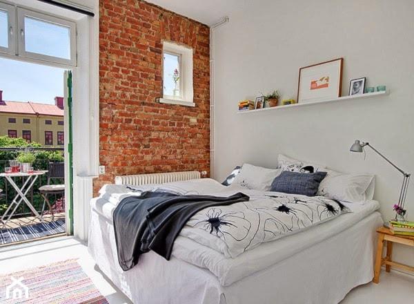 Jak urz dzi ma sypialni w stylu skandynawskim zdj cie od codziennie szczypta designu - Brick wallpaper bedroom design ...