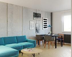 Aranżacja mieszkania w bloku z Wielkiej Płyty - Mały szary biały salon z jadalnią, styl industrialny - zdjęcie od SAFS | Sustainable Architecture