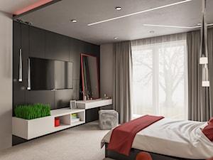 Sypialnia z czerwonym akcentem