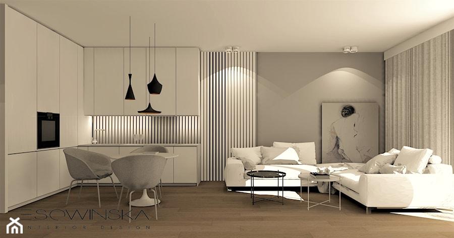 Mieszkanie 40m2 średni Szary Salon Z Kuchnią Z Jadalnią