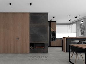 DOM JEDNORODZINNY GLIWICE 250 M2 - Duża otwarta beżowa szara jadalnia w salonie, styl nowoczesny - zdjęcie od EDYTA SOWIŃSKA INTERIOR DESIGN