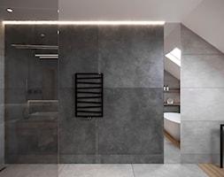 DOM JEDNORODZINNY TARNOWSKIE GÓRY 100m2 - Duża czarna szara łazienka na poddaszu w domu jednorodzinnym z oknem, styl nowoczesny - zdjęcie od EDYTA SOWIŃSKA INTERIOR DESIGN - Homebook