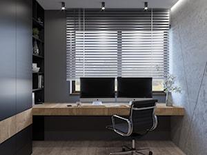 DOM JEDNORODZINNY TARNOWSKIE GÓRY 100m2 - Średnie szare biuro domowe kącik do pracy w pokoju, styl nowoczesny - zdjęcie od EDYTA SOWIŃSKA INTERIOR DESIGN