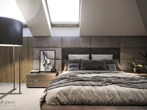 DOM JEDNORODZINNY TARNÓW 200 m2 - Średnia szara sypialnia małżeńska na poddaszu, styl nowoczesny - zdjęcie od EDYTA SOWIŃSKA INTERIOR DESIGN
