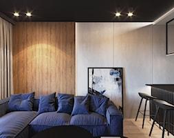 MIESZKANIE KRAKÓW 40 M2 - Mały szary biały salon z kuchnią z jadalnią, styl nowoczesny - zdjęcie od EDYTA SOWIŃSKA INTERIOR DESIGN - Homebook