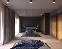 MIESZKANIE KRAKÓW 40 M2 - Średnia szara czarna sypialnia małżeńska, styl nowoczesny - zdjęcie od EDYTA SOWIŃSKA INTERIOR DESIGN - Homebook