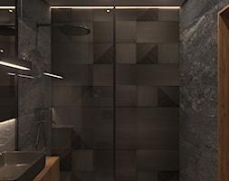 MIESZKANIE KRAKÓW 40 M2 - Średnia czarna łazienka w bloku w domu jednorodzinnym bez okna, styl nowo ... - zdjęcie od EDYTA SOWIŃSKA INTERIOR DESIGN - Homebook