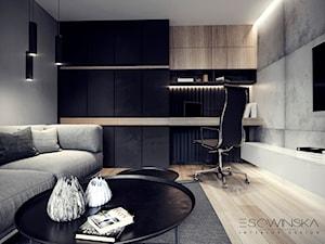 DOM JEDNORODZINNY TARNÓW 200 m2 - Średnie czarne szare biuro domowe kącik do pracy w pokoju, styl nowoczesny - zdjęcie od EDYTA SOWIŃSKA INTERIOR DESIGN