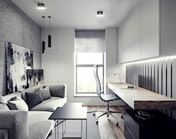 MIESZKANIE JAWORZNO 70 M2 - Średnie szare białe biuro domowe w pokoju, styl nowoczesny - zdjęcie od EDYTA SOWIŃSKA INTERIOR DESIGN