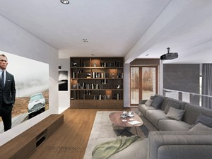 DOM JEDNORODZINNY WARSZAWA 350 M2 - Średni szary salon, styl nowoczesny - zdjęcie od EDYTA SOWIŃSKA INTERIOR DESIGN