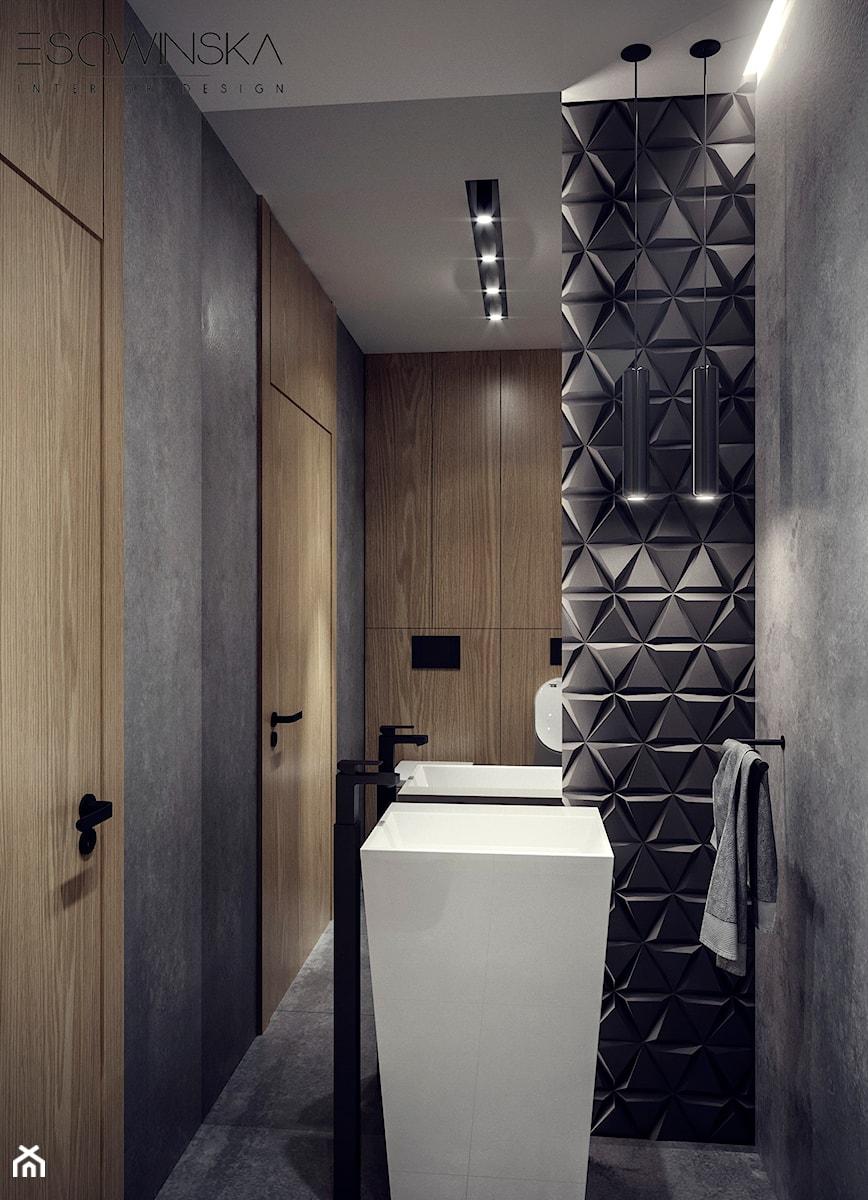 DOM JEDNORODZINNY TARNÓW 200 m2 - Mała łazienka w bloku w domu jednorodzinnym bez okna, styl nowoczesny - zdjęcie od EDYTA SOWIŃSKA INTERIOR DESIGN
