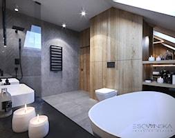 DOM JEDNORODZINNY TARNÓW 200 m2 - Duża łazienka na poddaszu w domu jednorodzinnym z oknem, styl nowoczesny - zdjęcie od EDYTA SOWIŃSKA INTERIOR DESIGN - Homebook
