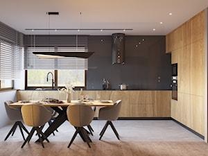 DOM JEDNORODZINNY TARNOWSKIE GÓRY 100m2 - Średnia otwarta biała szara kuchnia w kształcie litery l w aneksie z oknem, styl nowoczesny - zdjęcie od EDYTA SOWIŃSKA INTERIOR DESIGN