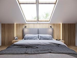 DOM JEDNORODZINNY TARNOWSKIE GÓRY 100m2 - Mała biała szara sypialnia małżeńska na poddaszu, styl nowoczesny - zdjęcie od EDYTA SOWIŃSKA INTERIOR DESIGN