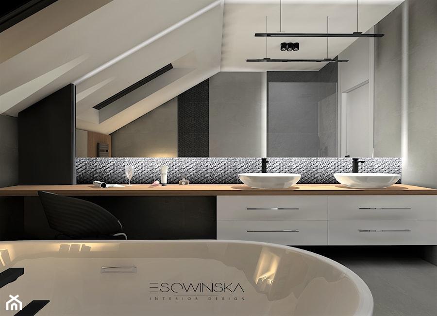 DOM JEDNORODZINNY GLIWICE 250 M2 - Średnia łazienka na poddaszu w domu jednorodzinnym z oknem, styl nowoczesny - zdjęcie od EDYTA SOWIŃSKA INTERIOR DESIGN